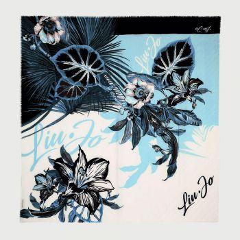Foulard Donna Plissettato LIU JO Floreale con Logo colore Blu Scuro