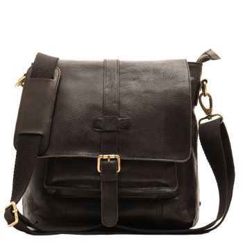 GIANNI CONTI Vintage line – Black Leather Crossbody Bag with Flap Closure