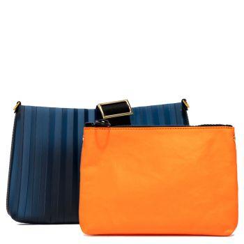 Pochette Donna GUM linea Plisse di colore Blu con Pochette Interna Arancione