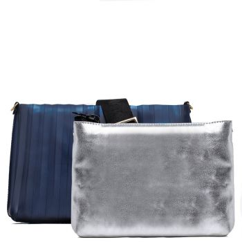 Pochette Donna GUM linea Numbers Plisse di colore Blu con Pochette Interna Argento
