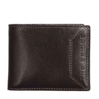 THE BRIDGE Bufalini Line – Black Leather Credit Card Wallet