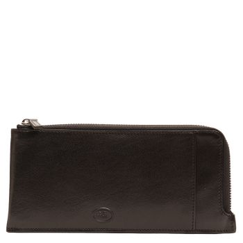 THE BRIDGE Story Line - Black Leather Unisex Wallet with Zip Fastening