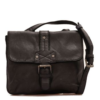 GIANNI CONTI - Black Leather Crossbody Bag with Flap Closure
