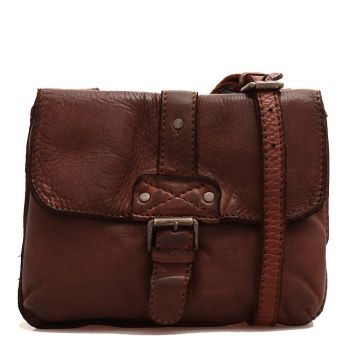 GIANNI CONTI - Brown Chocolate Leather Crossbody Bag with Flap Fastening