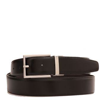 Cintura Uomo Reversibile con Fibbia Silver THE BRIDGE in Pelle Nera e Marrone 110cm linea Story Made in Italy
