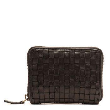 GIANNI CONTI - Small Black Woven Leather Zip Around Wallet