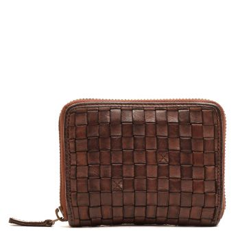 GIANNI CONTI - Small Brown Woven Leather Zip Around Wallet