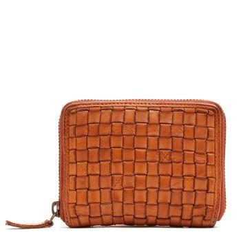 GIANNI CONTI - Small Tan Woven Leather Zip Around Wallet