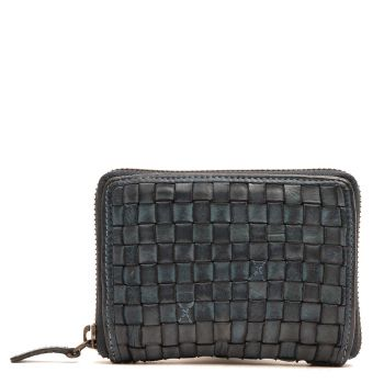GIANNI CONTI - Small Jeans Color Woven Leather Zip Around Wallet