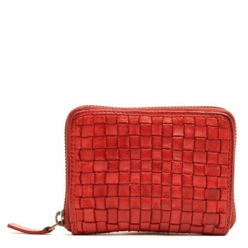 GIANNI CONTI - Small Red Woven Leather Zip Around Wallet