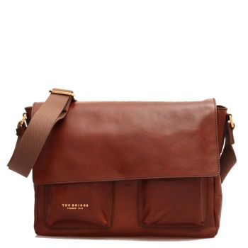 Messenger Uomo a Tracolla con Tasche THE BRIDGE in Pelle Marrone linea Story