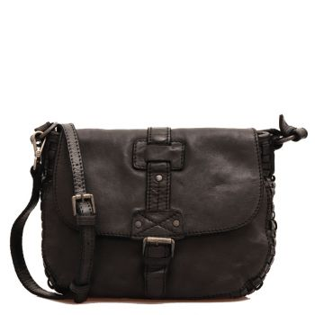 GIANNI CONTI - Black Leather Shoulder Bag with Strap