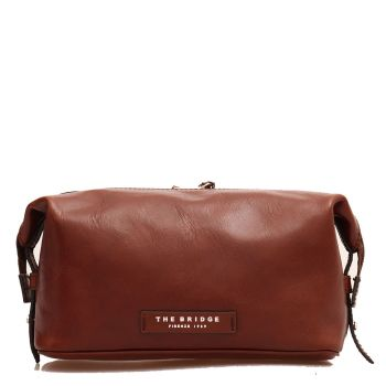 Necessaire con Zip THE BRIDGE in Pelle Marrone linea Passpartout Made in Italy