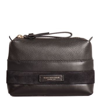THE BRIDGE Ognissanti Line – Black Leather Necessaire Made In Italy