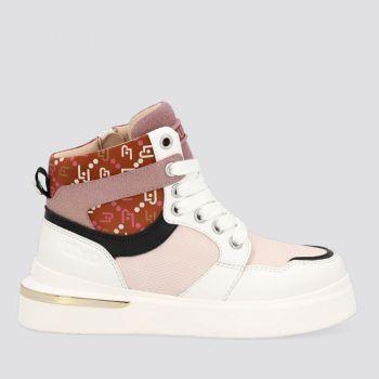Scarpe Junior LIU JO linea Hope 39 Sneakers Mid in Nylon e Pelle Bianco e Rosa