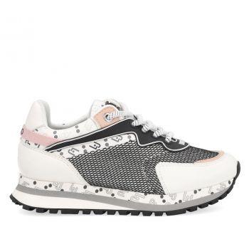 Scarpe Junior LIU JO linea Wonder 163 Sneakers in Tessuto Mesh e Pelle Bianco e Nero
