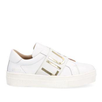 Scarpe Junior LIU JO linea Alicia 7 Sneakers Slip On in Pelle Bianca con Maxi Logo