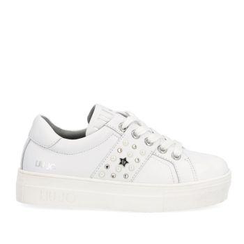 Scarpe Junior LIU JO linea Alicia 173 Sneakers in Pelle Bianca con Borchie a Stella