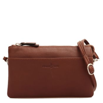 GIANNI CONTI - Brown Leather Clutch with Shoulder Strap