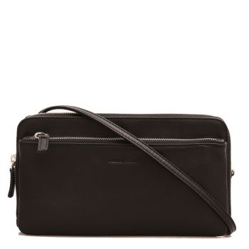 GIANNI CONTI - Black Leather Clutch with Shoulder Strap