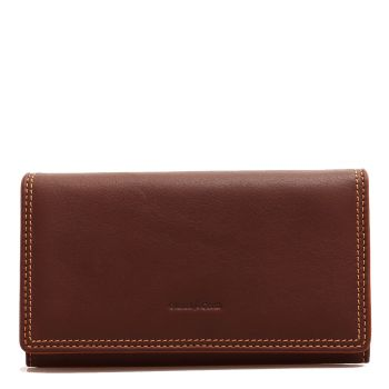 GIANNI CONTI - Brown Leather Wallet with Button