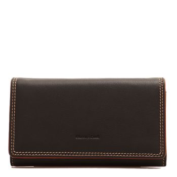GIANNI CONTI - Black Leather Wallet with Button