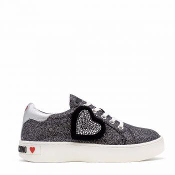 Sneakers Donna Love Moschino linea Glitter Nera con Cuore