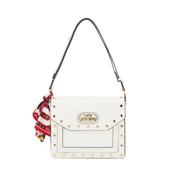 Borsa Donna a Spalla LOVE MOSCHINO Con Borchie e Foulard colore Bianco