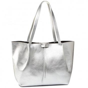 Borsa Donna in Pelle PATRIZIA PEPE Shopping a Spalla 2V8895 Silver