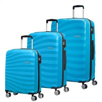 Set 3 Trolley Grande Medio Cabina 4 Ruote Rigido - American Tourister Oceanfront Spring Blue