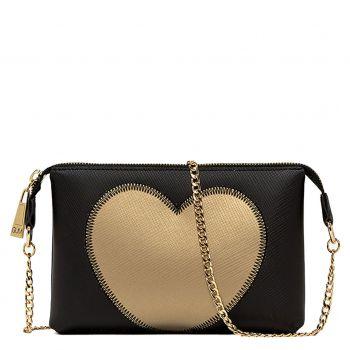 Pochette Donna con Tracolla GUM linea Lovestitch colore Nero - Oro