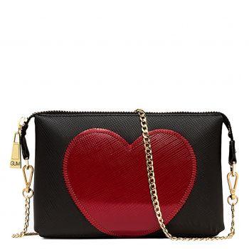 Pochette Donna con Tracolla GUM linea Lovestitch colore Nero - Rosso
