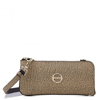 Pochette Donna Mini con Tracolla BORBONESE in Tessuto linea Graffiti Colore Natural Black