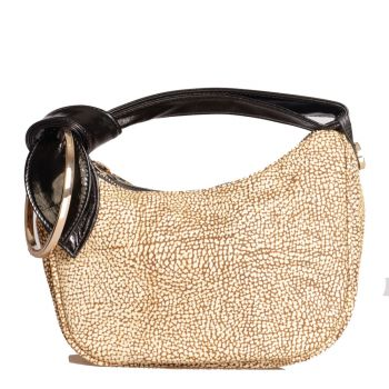Borsa Donna a Mano Luna Bag Petite BORBONESE linea Icona in Camoscio Op Natural Black