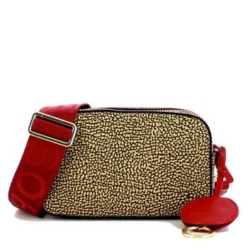 Borsa Donna a Tracolla Small BORBONESE in Tessuto linea Graffiti Colore OP Natural Red