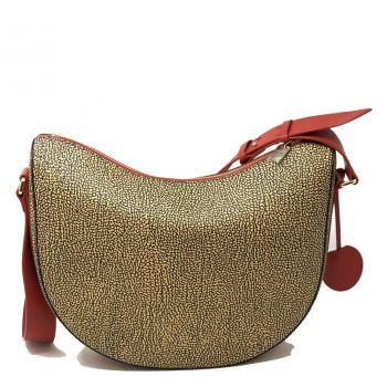 Borsa Donna a Tracolla Luna Bag Middle BORBONESE in Tessuto Stampato linea Graffiti Colore OP Natural Red