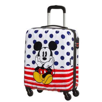 Trolley Cabina 55cm 4 Ruote Leggero 2,6kg - American Tourister Disney Mickey Blue Dots