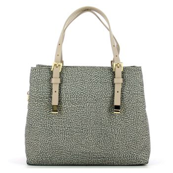 Borsa Shopping Bag Small a Mano BORBONESE linea Jet Op in Tessuto Colore Tortora