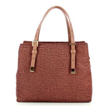 Borsa Shopping Bag Small a Mano BORBONESE linea Jet Op in Tessuto Colore Cipria
