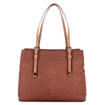 Borsa Shopping Bag Media a Mano con Tracolla BORBONESE linea Jet Op in Tessuto Color Cipria