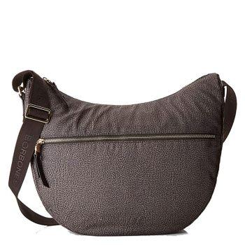 Borsa Donna a Tracolla Luna Bag Small BORBONESE in Tessuto linea Jet Op Colore Marrone Testa di Moro