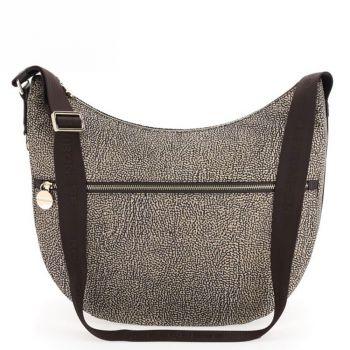 Borsa Donna a Tracolla Luna Bag Medium BORBONESE in Tessuto linea Jet Op Colore Op Naturale/Marrone