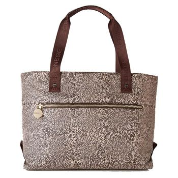 Borsa Shopping Large BORBONESE linea Jet Op in Tessuto Natural Brown