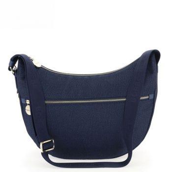 Borsa Donna a Tracolla Luna Bag Middle BORBONESE in Tessuto linea Jet Op Colore Blu