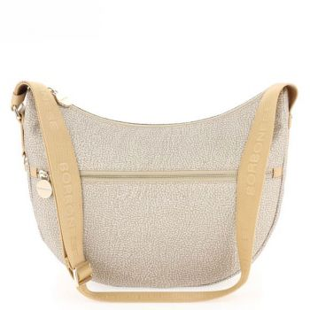 Borsa Donna a Tracolla Luna Bag Middle BORBONESE in Tessuto linea Jet Op Colore Beige