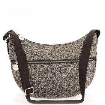 Borsa Donna a Tracolla Luna Bag Middle BORBONESE in Tessuto linea Jet Op Colore OP Naturale/Marrone
