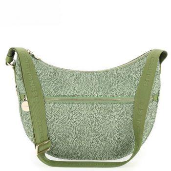 Borsa Donna a Tracolla Luna Bag Middle BORBONESE in Tessuto linea Jet Op Colore Verde