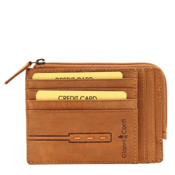 GIANNI CONTI  Brown Leather Card Holder with Zip Fastening