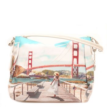 Borsa Donna Y NOT a Spalla con Tracolla Media - L-321 Golden Gate