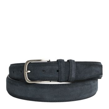 Belt Men in Blue Suede 3.5cm - Made in Italy